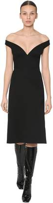 Prada NATTE WOOL GABARDINE MIDI DRESS