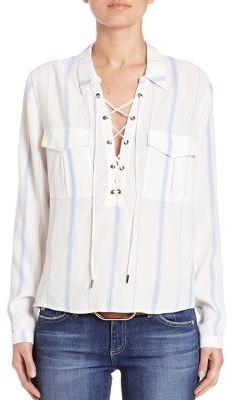 L'acadamie Long Sleeve Lace-Up Blouse $136 thestylecure.com