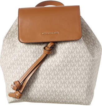 MICHAEL Michael Kors Junie Medium Flap Leather And Canvas Backpack