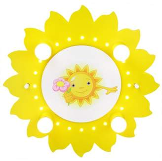 Elobra Children's Sun Flower Ceiling Lamp with LED Night Light Yellow 126721