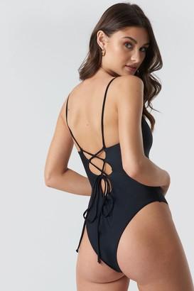 Camille Botten X Na Kd Lacing Open Back Swimsuit Black