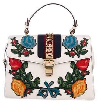 Gucci 2017 Medium Embroidered Sylvie Top Handle Bag