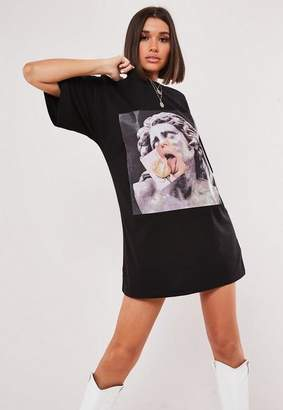 Missguided Black Oversized Statue Graphic Front T Shirt Dress
