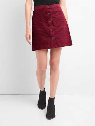 Cord button-front skirt