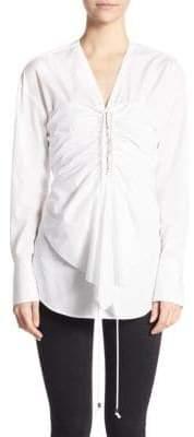 3.1 Phillip Lim Long-Sleeve Corset Cotton Top