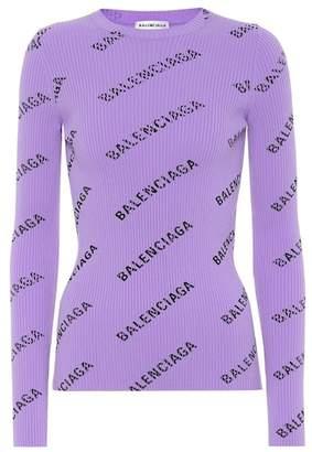 Balenciaga Allover Logo ribbed-knit sweater
