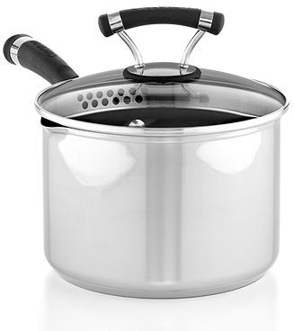 Circulon Contempo Stainless Steel 3 Qt. Covered Straining Saucepan