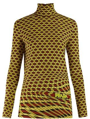 Prada Roll Neck Geometric Print Jersey Top - Womens - Green Multi