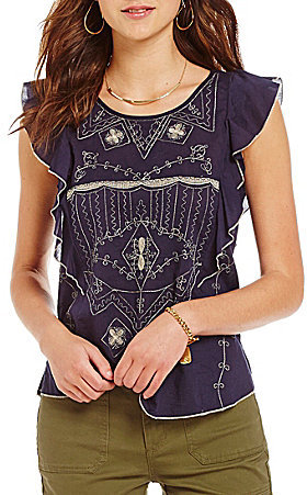 Chelsea & VioletChelsea & Violet Ruffle Embroidered Cap Sleeve Top