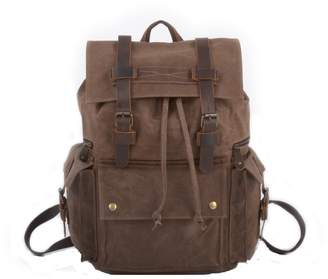 EAZO - Vintage Style Waxed Canvas Backpack in Brown