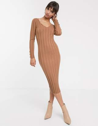 Asos Design DESIGN button detail rib midi dress with v neck