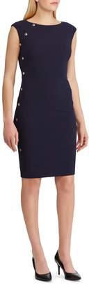 Lauren Ralph Lauren Button-Trimmed Sheath Crepe Dress