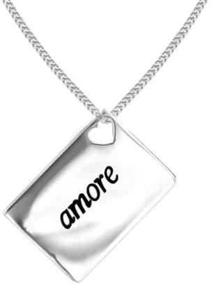 Camilla And Marc Lily & Lotty Love Letters Rhodium Plated 925 Sterling Silver Hand Set Diamond Amore Necklace of Length 46 cm