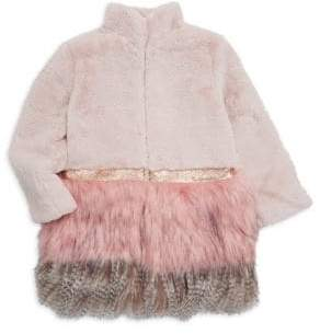 Imoga Little Girl's& Girl's Faux Fur& Feather Coat