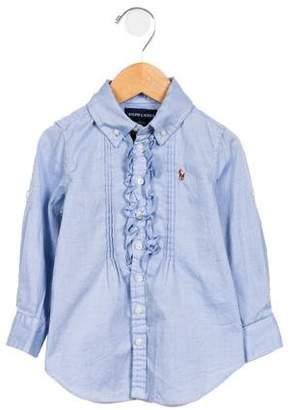 Ralph Lauren Girls' Ruffle-Accented Button-Up Top