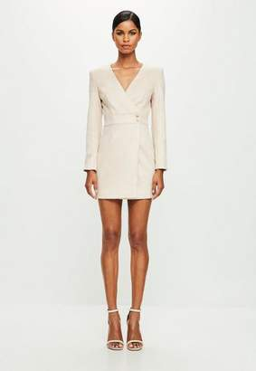 Missguided Nude Long Sleeve Faux Suede Wrap Dress