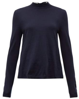 RED Valentino Tie Neck Wool Blend Sweater - Womens - Navy