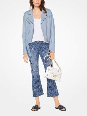 MICHAEL Michael Kors Floral Embroidered Cropped Jeans