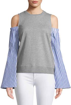 Free Generation Cold-Shoulder Striped-Sleeve Sweatshirt