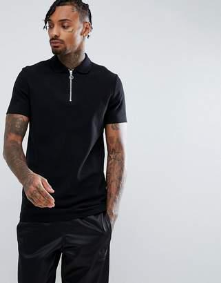 Asos Design DESIGN pique polo with zip neck in black