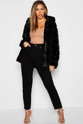 boohoo Hooded Panelled Faux Fur Coat