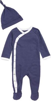 Burt's Bees Baby Jacquard Stripe Organic Cotton Footie & Hat Set