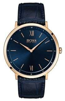 HUGO BOSS Blue Sunray Dial Croco-Embossed Leather Strap Watch