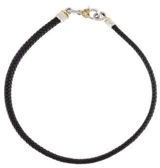 Judith Ripka Diamond & Leather Collar Necklace
