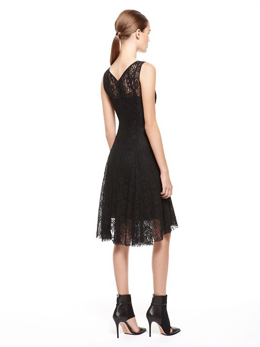 DKNY Sleeveless V-Neck Dress With Flare Skirt