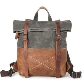 EAZO - Waxed Canvas Backpack With Vintage Leather Detail In Green