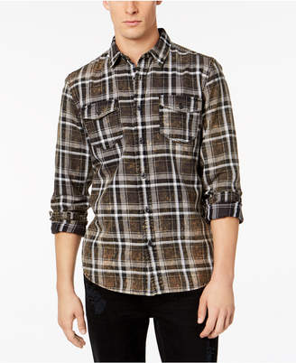 American Rag Men Distressed Plaid Shirt