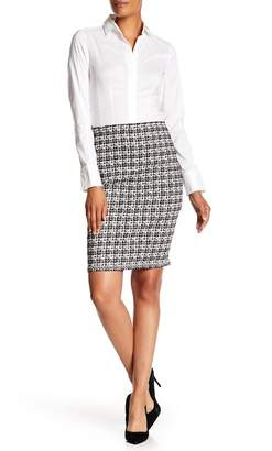 Max Studio Tweed Printed Pencil Skirt