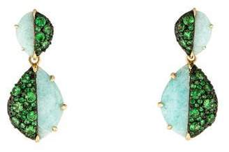 Phillips House 14K Amazonite & Tsavorite Contrast Earrings