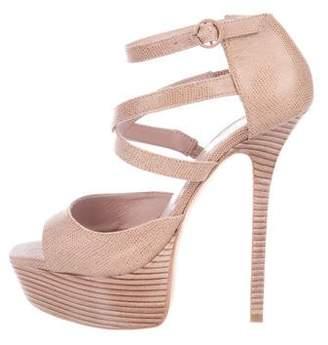 Alice + Olivia Laila Embossed Leather Sandals