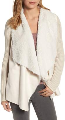 KUT from the Kloth Opal Drape Front Cardigan with Faux Fur Trim