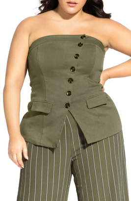 City Chic Button Front Strapless Corset Top