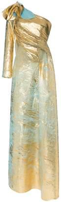 Halpern asymmetric one-sleeved draped gown