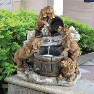 Wildon Home Resin Puppy Pail Pour Garden Fountain with LED Light