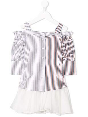 Dondup Kids striped cold shoulder dress