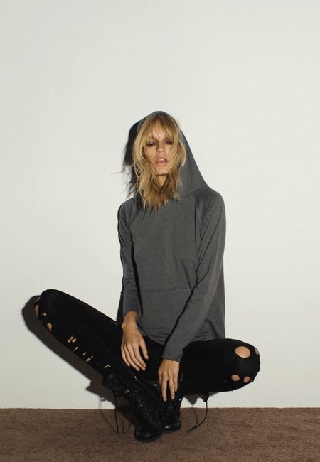 LnA Side Tail Fleece Hoody in Black and Heather Grey