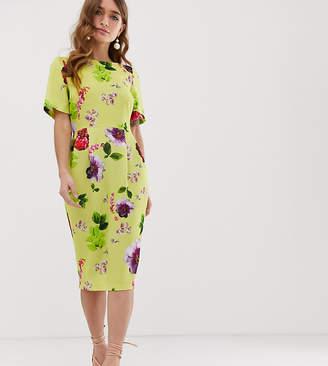 Asos DESIGN Petite yellow floral midi wiggle dress