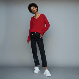 Maje Embroidered straight jean