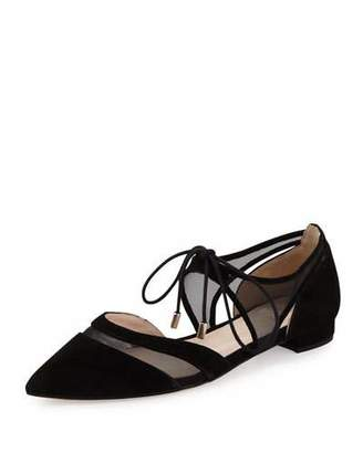 Andre Assous Maddie Pointed-Toe Lace-Up Ballerina Flat, Black $225 thestylecure.com