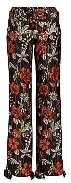 Prada Women's Cloquet Flower Ruffle Pants