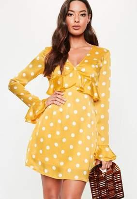 Missguided Polka Dot Plunge Frill Tea Dress