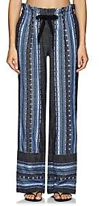 Lemlem Women's Lucy Folkloric-Striped Cotton-Wool Pants - Blue