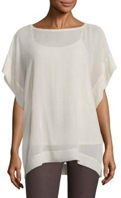 Eileen Fisher Silk Georgette Kimono Box Top $198 thestylecure.com