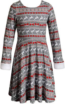 This Girls Reversible Dress From Emily West Offers Double The Style And Features Cute Faux Fur Trim For Trendy Appeal. Girls 7-16 Emily West Reversible Faux-Fur Trim Holiday Dress