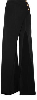 Balmain - Embellished Stretch-knit Flared Pants - Black $2,080 thestylecure.com