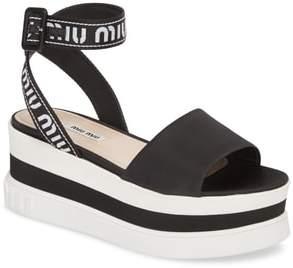 Miu Miu Flatform Logo Sandal